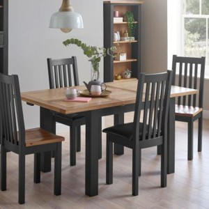 Vancouver Compact Painted Black Grey Furniture Extending Dining Table with 2 Timber Seat & 2 Leather Chairs Set