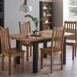 Vancouver Compact Painted Black Grey Furniture Extending Dining Table with 4 Timber Seat Oak Dining Chairs Set