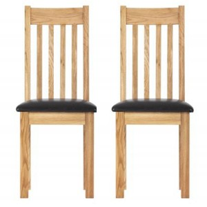 Pair of Vancouver Compact Oak Furniture Dining Chair with Bi-Cast Leather Seat