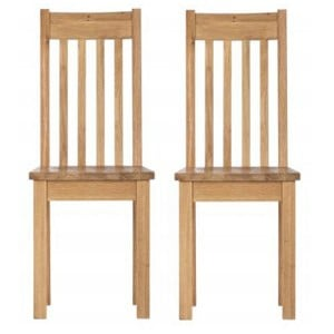 Pair of Vancouver Compact Oak Furniture Dining Chair with Timber Seat
