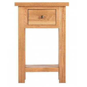 Vancouver Compact Oak Furniture 1 Drawer Telephone Table with Shelf