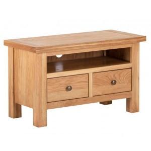 Vancouver Compact Oak Furniture 2 Drawer TV Media Unit