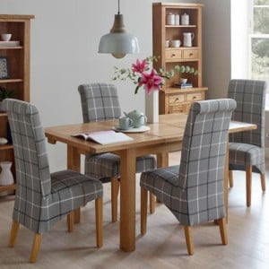 Vancouver Compact Oak Furniture Extending Dining Table with 4 Grey Tartan Fabric Dining Chairs Set
