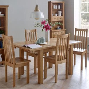 Vancouver Compact Oak Furniture Extending Dining Table with 4 Timber Seat Dining Chairs Set