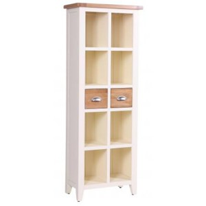 Vancouver Expressions Linen Furniture 2 Drawer Tall Narrow Bookcase