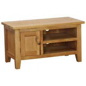 Vancouver Petite VSP Solid Oak Furniture 1 Door 1 Shelf TV Unit