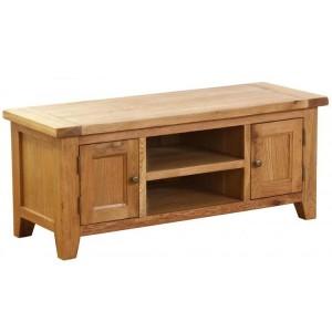 Vancouver Petite VSP Solid Oak Furniture 2 Door 1 Shelf TV Unit