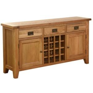Vancouver Petite VSP Solid Oak Furniture 3 Drawer 2 Door Wine Table