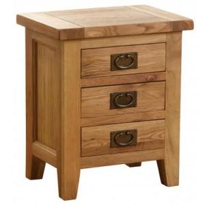 Vancouver Petite VSP Solid Oak Furniture 3 Drawer Bedside Table
