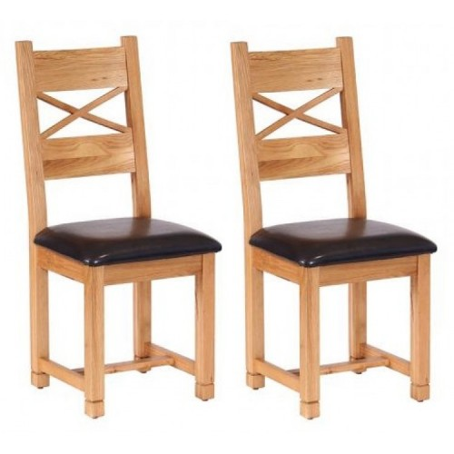 Pair Of Vancouver Petite Solid Oak Cross Back Dining Chair with Chocolate Leather Seat