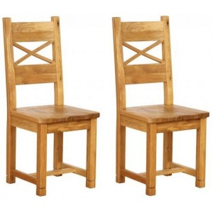 Pair of Vancouver Petite Solid Oak Cross Back Dining Chair with Timber Seat