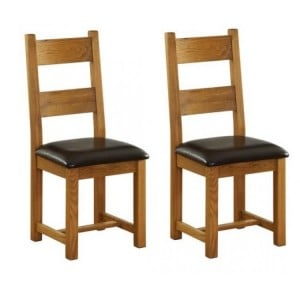 Pair of Vancouver Petite Solid Oak Horizontal Slats Dining Chair with Chocolate Leather Seat