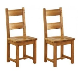 Pair of Vancouver Petite Solid Oak Horizontal Slats Dining Chair with Timber Seat