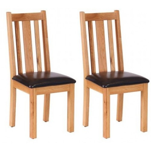Pair of Vancouver Petite Solid Oak Vertical Slats Dining Chair with Chocolate Leather Seat