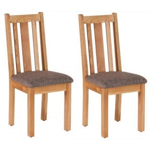 Pair of Vancouver Petite Solid Oak Vertical Slats Dining Chair with Mocha Fabric Seat