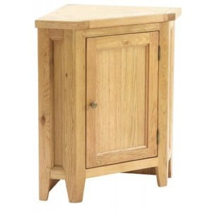 Vancouver Petite Solid Oak 1 Door Corner Lamp End Table