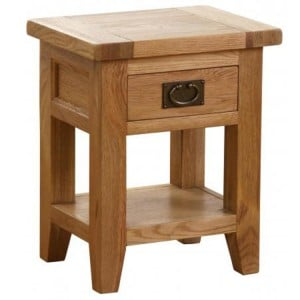 Vancouver Petite Solid Oak 1 Drawer 1 Shelf Bedside Table
