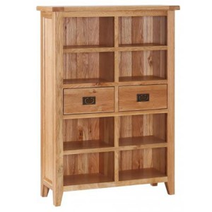Vancouver Petite Solid Oak 2 Drawer Wide Bookcase
