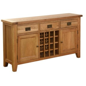Vancouver Petite Solid Oak 3 Drawer 2 Door Wine Table
