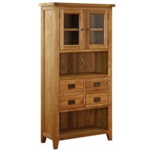 Vancouver Petite Solid Oak 4 Drawer 2 Door Glazed Display Cabinet