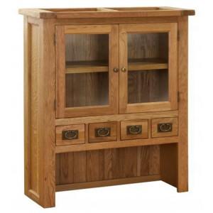 Vancouver Petite Solid Oak 4 Drawer 2 Door Hutch