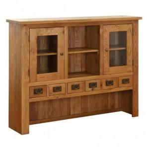Vancouver Petite Solid Oak 6 Drawer 2 Door Hutch Dresser Top
