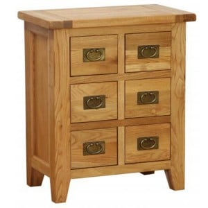 Vancouver Petite Solid Oak 6 Drawer CD DVD Cabinet