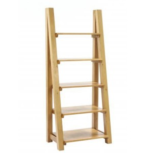 Vancouver Petite Solid Oak Ladder Bookcase with 5 Shelves