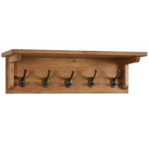 Vancouver Petite Solid Oak Coat Rack with 5 Hooks