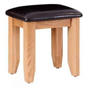 Vancouver Petite Solid Oak Dressing Table Stool with Black Leather Seat Pad