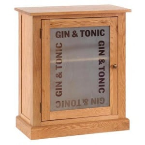 Vancouver Petite Solid Oak Gin And Tonic 1 Door Drinks Cabinet