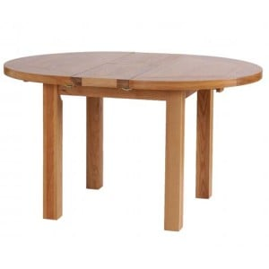 Vancouver Petite Solid Oak Round Extension Dining Table 140cm