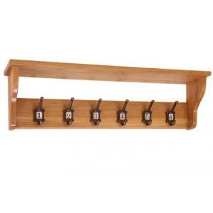 Vancouver Petite Solid Oak School Coat Rack with 6 Hooks