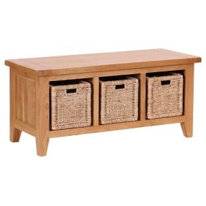 Vancouver Petite Solid Oak Storage Bench with 3 Basket Drawers