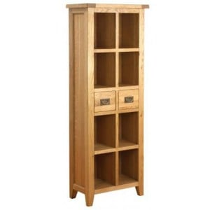 Vancouver Petite Solid Oak Tall 2 Drawer Bookcase
