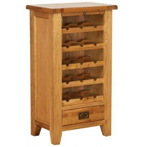 Vancouver Petite Solid Oak Wine Unit with 5 Shelves And 1 Drawer