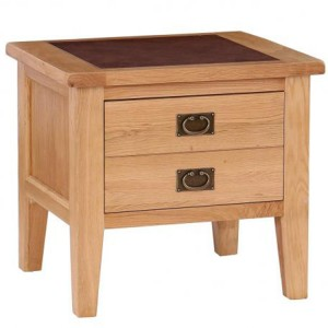 Vancouver Premium Solid Oak 1 Drawer Lamp Table with Leather Top