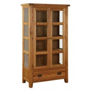 Vancouver Premium Solid Oak 2 Door 1 Drawer Glazed Cupboard