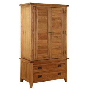 Vancouver Premium Solid Oak 2 Drawer 2 Door Double Gents Wardrobe