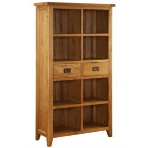 Vancouver Premium Solid Oak Large Tall 2 Drawer Open Bookcase
