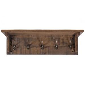 Vancouver Sawn Old Oak Coat Rack with 5 Hooks