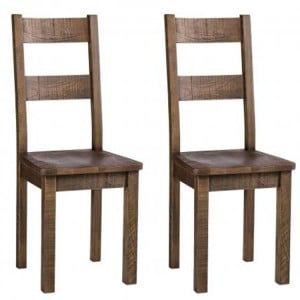 Pair of Vancouver Sawn Old Oak Dining Chair With Timber Seat