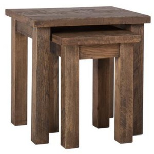 Vancouver Sawn Old Oak Nest of 2 Tables