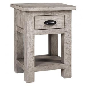 Vancouver Sawn Solid Oak Weathered Grey 1 Drawer Bedside Table