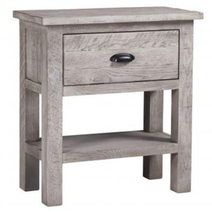 Vancouver Sawn Solid Oak Weathered Grey 1 Drawer Console Table