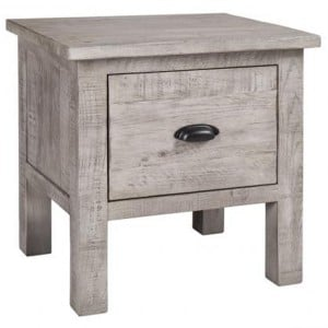Vancouver Sawn Solid Oak Weathered Grey 1 Drawer Lamp Table