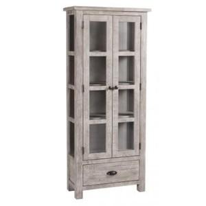 Vancouver Sawn Solid Oak Weathered Grey 2 Door 1 Drawer Glazed Display Cabinet