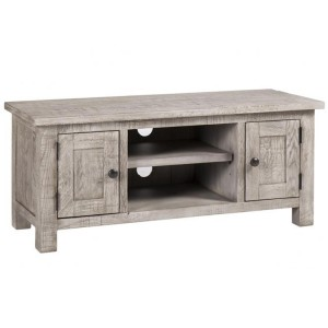 Vancouver Sawn Solid Oak Weathered Grey 2 Door TV Unit with a Shelf