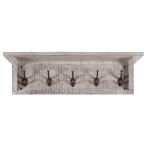 Vancouver Sawn Solid Oak Weathered Grey Coat Rack with 5 Hooks