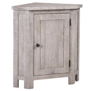 Vancouver Sawn Solid Oak Weathered Grey Corner 1 Door Lamp Table